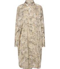 fram print dress knälång klänning beige holzweiler