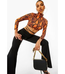 slangenprint crop top met col, orange