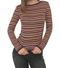 blusa my favorite thing(s) tricot metalizada laranja/bege