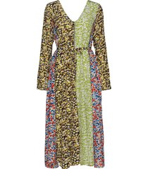 maca, 629 meadow silk maxi dress galajurk multi/patroon stine goya