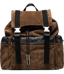 amiri buckled drawstring backpack - brown