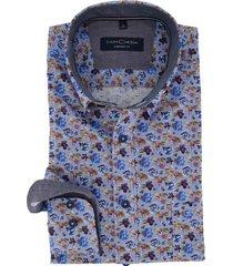 casa moda overhemd comfort fit blauw bloemen