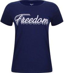 camiseta freedom color azul, talla m