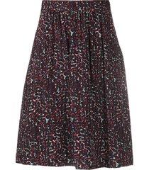 a.p.c. floral print midi skirt - purple