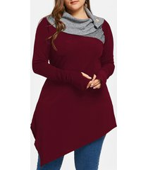 plus size thumb hole asymmetric tunic top