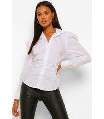 geplooide blouse met pofmouwen, white