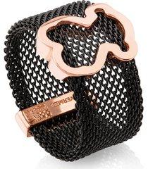 anillo icon mesh de acero y plata vermeil rosa
