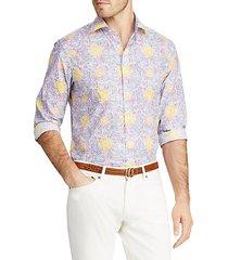 bend back floral button-down shirt
