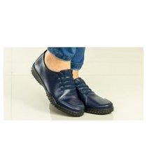 sapatênis feminino em couro calce fácil azul marinho italeoni