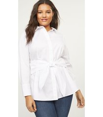 lane bryant women's tie-front high-low shirt 22 white