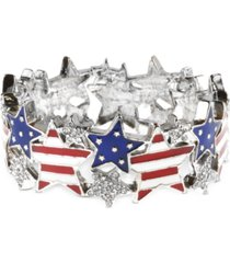 holiday lane silver-tone pave red, white & blue star stretch bracelet, created for macy's