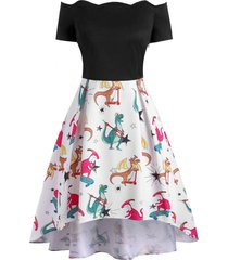 dinosaur print scalloped off shoulder high low dress