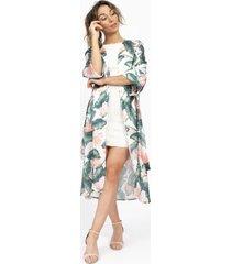 kimono tropical garden clásico casual blanco kimonada