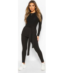 petite knitted rib belted top and leggings, black