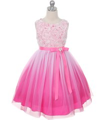 fuchsia ombre flower girl dress bridesmaid birthday wedding pageant party dance