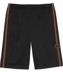 gucci patch detailed mesh bermuda shorts - black