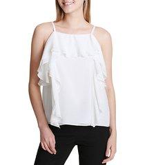 ruffle skinny strap blouse
