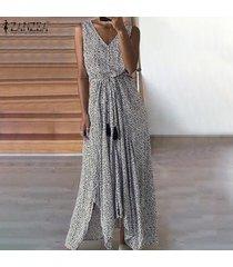 zanzea vestido de playa con estampado de lunares para mujer sin mangas vestidos de fiesta con cordones -blanco