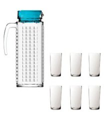kit 1 jarra de vidro ladrilhos azul e 6 copos de vidro long sture móveis
