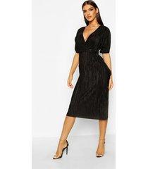 plisse buckle wrap midi dress, black