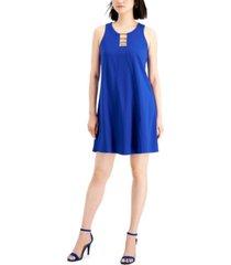 nine west notched-neck a-line dress