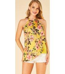 yoins camisola halter amarilla con estampado floral de doble capa