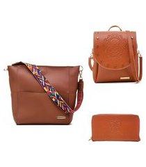kit bolsa + mini mochila + carteira alice monteiro princess - catamelo