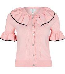 river island womens petite pink frill collar cardigan