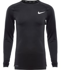 polera nike m np top ls tight negro - calce ajustado