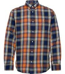 d2.windblown flannel indigo reg bd skjorta casual orange gant