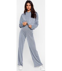 womens team talk cropped hoodie and wide-leg pants set - blue