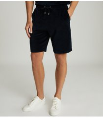 reiss akin - cotton-blend towelling shorts in navy, mens, size xxl