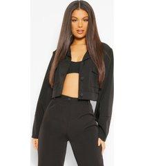 getailleerd ingekort jasje met zakdetail, zwart