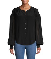 joie women's balloon-sleeve silk-blend top - caviar - size s