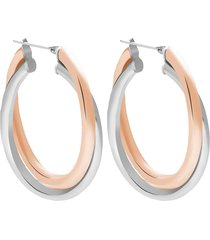 orecchini a cerchio lady code acciaio bicolore doppio giro per donna
