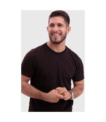 camiseta biecco smith piquet slim marrom