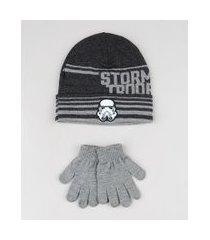 kit infantil de gorro stormtrooper star wars cinza mescla escuro + luva em tricô cinza mescla