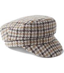 evie houndstooth wool-tweed cap