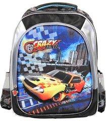 mochila infantil ls crazy car divisórias carros em alto relevo - unissex