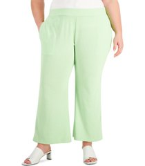 alfani plus size pull-on flared ankle pants, created for macy's