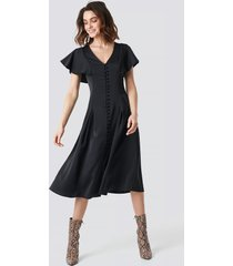 na-kd party button up flounce sleeve dress - black
