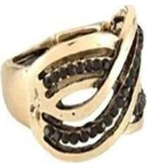 anel armazém rr bijoux trançado cristal preto
