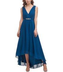 eliza j surplice-neck high-low gown