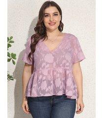 blusa de manga corta semi transparente con estampado floral y cuello en v de talla grande