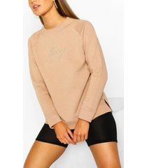 honey embroidered sweater, stone
