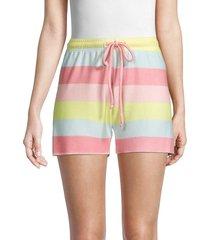 wildfox women's carter striped shorts - size l
