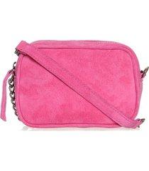 bolsa transversal em couro rosa pink