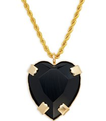 kenneth jay lane women's 22k yellow gold electroplated & resin heart pendant long chain necklace