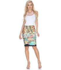 white mark print pencil skirt
