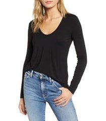 women's splendid scoop neck jersey tee, size xx-small - black